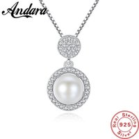 S925 Sterling Silver White Natural Pearl Pendant Necklace for Women Wedding Party Gift Free Shipping