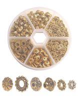 Una caja de 300 unids Antiqued Gold Metal Bali Daisy Spacer Beads para la fabricación de joyas