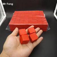 Rosso 100 pezzi 2,5 cm Albero cubo di legno Gioco Gadget Rompicapo Comuni Senso Educazione Giocattoli per bambini (Numero modello B273)