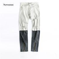 Newsosoo 2018 Moda Marka Erkek Baskılı Renk Splice İnce Stretch Biker Diz Büyük Delik Sıska Yüksek kaliteli Ripped erkek Jeans