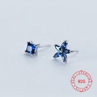 Asymmetric Earrings Square Flower 925 Sterling Silver Stud E...