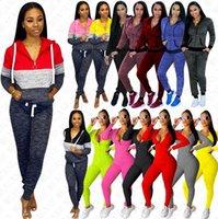 Kadın Eşofman Uzun Kollu Kıyafetler Kazak Hoodies Kapşonlu Ceket Fermuar Ceket Legging Pantolon Tulumlar Bodysuit Sonbahar Ter Suit Satış D8409