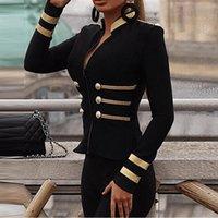 Kadınlar Y200101 için Kontrast Teyp Ekleme Düğme Detay Coats Ceket