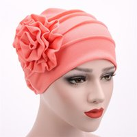Women Fashion Head Wear Wrap Bonnet Side Flower Stretch Brea...