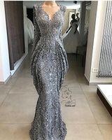 2019 Gri Dantel Mermaid Dantel Abiye Sequins Örgün Olay Parti Kıyafeti Artı Boyutu Balo Elbise Custom Made BC0951