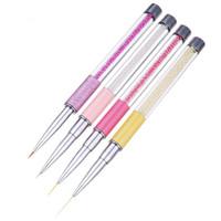 5/9/11/20 mm Perle acrylique Nail Art Liner Pinceau French Lines Stripes Grille Fleur Peinture Dessin stylo bricolage Outils manucure