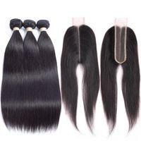 Бразильские девственные волосы прямые 3 пучки с закрытием средняя часть Ким к 2x6inch 100% человеческих волос с закрытием