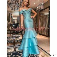 2020 멋진 파란색 새틴 인어 이브닝 드레스 두바이 어깨 층 티에 워진 경우 아랍어 플러스 사이즈 파티 댄스 가운 가운