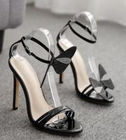 Hot Sale-New Frau Markendesigner zeigten sexy Sandalen Strass Bowtie 11cm hohe Absätze für Frauen Hochzeitskleid Abschlussball-Heimkehr-Schuhe cx597