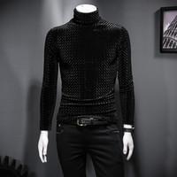 T-Shirt für Männer Winter Gold Samt hoher Kragen koreanische Version der Selbst-Anbau wilder Jugend und Samtverdickung Kleidung Shirt Trends