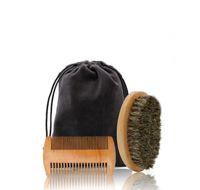Kit de peigne barbe fait main poils de sanglier barbe brosse pour hommes moustache avec sac en tissu