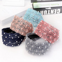 Wide Womens Hairband Elastic Lace Headband Woman Pearl Hair ...