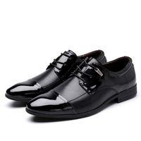 Baoluma Hommes Chaussures Habillées Pointu Toe Lace Up Business Casual Chaussures Marron Noir Pu En Cuir Oxford Chaussures Hommes Grande Taille 38-47