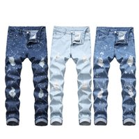 Jeans Hommes Distressed Ripped Biker Jeans Slim Fit Motard Denim Jeans Pantalons mode taille plus 28-40 JS54