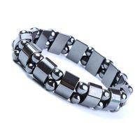 Bracelets de thérapie magnétiques Black Hematite pour hommes, Metal Healing Energy Black