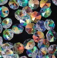 Freeshipping lucida 400pcs / lot 26mm 2 fori di cristallo Perle lampadario in vetro Perle ottagono prisma di vetro lampadario Pezzi in vendita