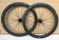 Disco de freno 700C Ruedas de carbono 50 mm Juego de ruedas de bicicleta de disco tubular de 25 mm de ancho Bicicleta de rueda de carbono 3K de aleta fina
