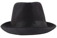 Toptan 10 adet / grup Saf renk Yaz keten şapka baba caz kapaklar orta yaşlı erkek nefes güneşlik şapka