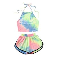 Two Piece Set Women Bikini Halter Blooming Color Crop Top Wi...