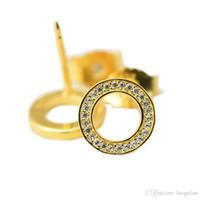 Compatible con la joyería Pandora 925 Pendientes de botón de plata esterlina chapados en oro para mujer Pendiente original de la manera Joyería de los encantos