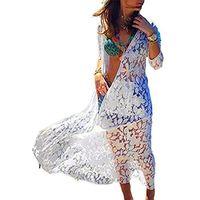 Botões casuais das mulheres manga longa dividir praia maxi dress encobrir túnica