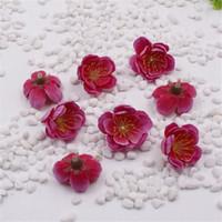 100pcs Mini Kumaş Kiraz Erik Çiçeği Yapay Çiçek İpek Çiçek Başkanları Masa Düzenlemeleri Düğün Ev Dekorasyon