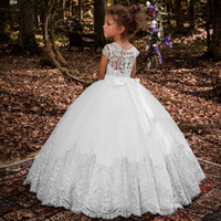 Lovey Holy Lace Princess Flower Girl Dresses Ball Gown First Communion Klänningar För Flickor Ärmlös Tulle Toddler Pageant Klänningar