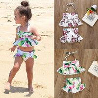 Baby Girl Flamingo Floral print swimwear 2019 summer Two- Pie...