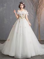 Mingli Tengda Элегантный с плеча Принцесса Мечта Невесты Свадебные платья плюс размер свадебное платье с коротким рукавом Sexy A Line свадебное платье