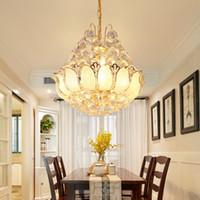 거실 램프 식사 미국의 현대 크리스탈 샹들리에 조명기구 LED 조명 샹들리에 연꽃 홈 실내 조명 레스토랑