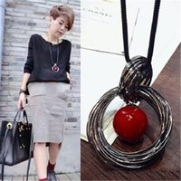 Red White Pearl Ball Pendant Long Necklaces Vintage Silver D...