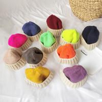Cappello Autunno e Inverno Tinta unita Cappello di lana corto Bambini Moda carino Cappello in maglia selvaggia Genitore-figlio Ragazzo Ragazza EEA217