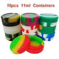10 pçs / lote 11ml mini recipiente de silicone cor sortida para Dabs redondo forma recipientes de silicone cera frascos de silicone