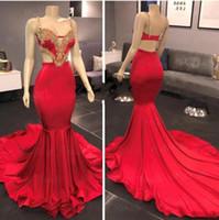 Mousseux rouge sirène robes de bal longue bretelles spaghetti Backless Perles cristal Abiye Dubaï Tenue Tenues de soirée Robes de soirée ogstuff