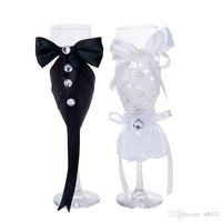 Romantische Champagner Weingläser Pure Color Becher 2 Stück One Suits Becher Cup Hochzeit Supplies Party Geschenk 24yl E1