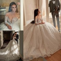 2020 Bohemian lusso modesto A-Line Wedding Dresses Lace Tulle Paillettes Appliques Abiti da sposa sweep treno Plus Size Long Sleeve Wedding Gowns