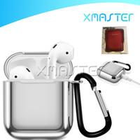 Per AirPods 1 2 Case TPU elettroplated con chiusura a gancio Keychain Anti Anti Lost Cuffie Apple Airpod Auricolare Protezione del coperchio con scatola al minuto
