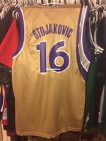 a96afe9db08d Cheap wholesale Peja Stojakovic Jersey Men Nwt New Bibby Gold  16 T-shirt  vest Stitched Basketball jerseys Ncaa