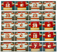 Vintage Calgary Flames Forması 25 JOE NIEUWENDYK 39 HAMURLUK GILMOUR 12 HAKAN LOOB 29 JOEL OTTO 10 GARY ROBERTS 19 TIM HUNTER 7 JOE MULLEN Hokey