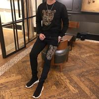 Mens conjunto leopardo strass beading camisolas pretas camiseta de manga longa com calças de cintura elástica mens set moda / estúdio / bling estilo