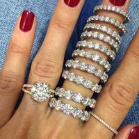 Гнездо горячая распродажа полосы женщин кристалл ну вечеринку модный зубец установочное кольцо щадящий Bling большой 6-1 мм Cz настоящее стерлингового серебра 925 кольцо