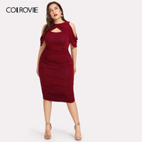 COLROVIE Plus Size Nero Drappeggiato freddo spalla increspato Wrap Party Dress Women 2019 primavera Borgogna Bodycon signore Midi sexy Dress
