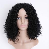 Neue Frauen Haarschmuck Headwear Schwarz Synthetische Perücke Lange Lockige locken Afro Afroamerikaner Perücken für Frauen Party Decor