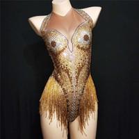 E96 Gold'un püskül kadın seksi bodysuit dj tulum parti etek elbise ds şarkıcı performans podyum kıyafetler disko elbiseleri direk dansı göstermek giyer