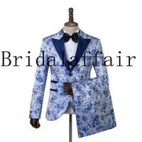 Giacca Pantaloni Vest vestiti di vestito da sposa della Cina di stile jacquard giacca e cravatta Uomo Classic di alta qualità 2019 Custom Made