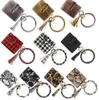 Couro PU Leather Cartão Bracelet Bangle Bolsa Carteira Keychain Wristlet Chaveiro Leopard bolsa de cartão de crédito pulseira titular com Tassel EEA1665
