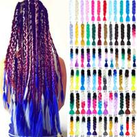 24 '' 100g / pc Synthetic Ombre Flechthaar Crochet Zöpfe Frisuren Jumbo Crochet Hair Extensions Lila Pink Schwarz