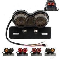Rétro LED moto double queue feu clignotant plaque de frein plaque de lumière intégrée LED feu arrière pour VTT r30