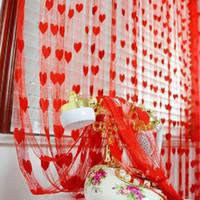 Decoración de la fiesta 1 * 2m Cortinas de cuerdas en forma de corazón Sala de bodas