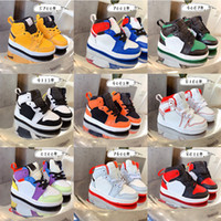 أحذية الأطفال J 1S الصنوبر الأخضر الأحمر أوريو متعدد الألوان أحذية كرة السلة أحذية كرة السلة الأصفر الرضع بوي فتاة UR UNC TO شيكاغو رياضة U6C-3Y